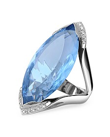 Blue Topaz and Diamond White Gold Fashion Ring - Forzieri