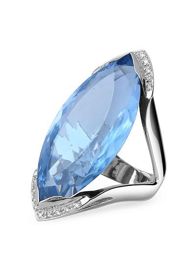 Modischer Ring in Weissgold mit blauem Stein und Diamanten - Forzieri