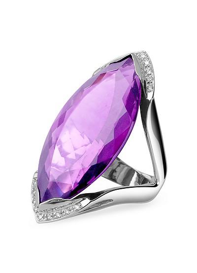 Modischer Ring in Weissgold mit Amethyst und Diamanten - Forzieri