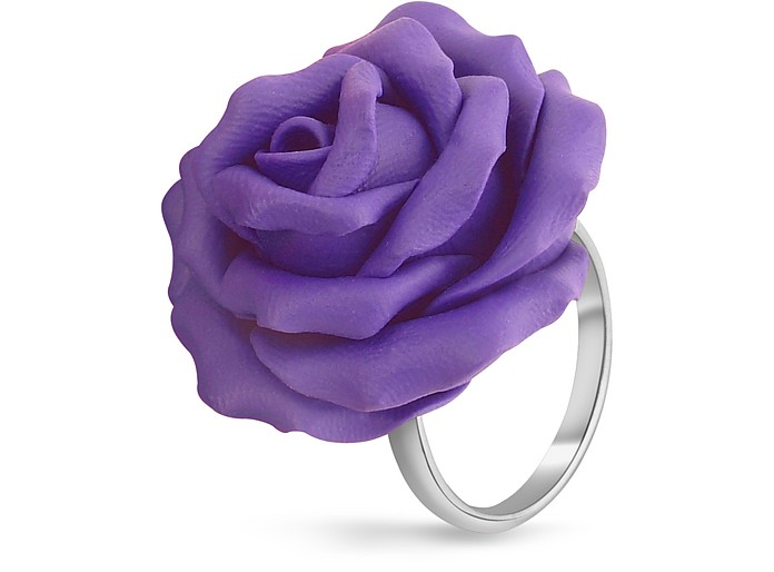 Hand Made Purple Rose Sterling Silver Fashion Ring - Forzieri