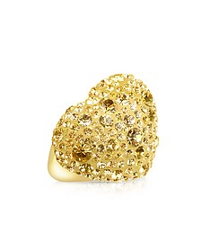 Fantasmania - Gold Crystal Big Heart Ring - Gisèle St.Moritz