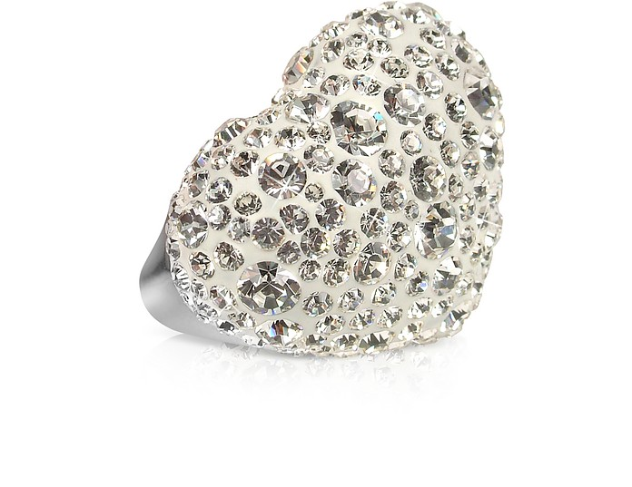 Fantasmania - White Crystal Big Heart Ring - Gisèle St.Moritz