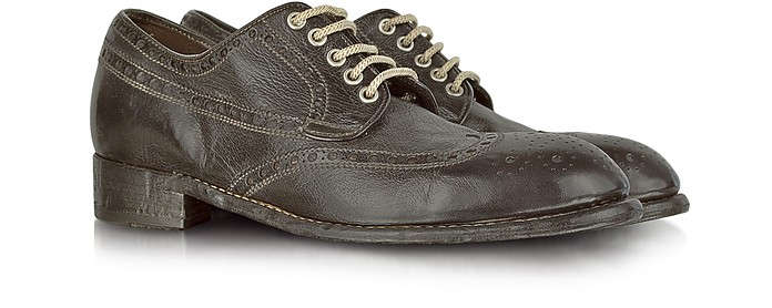 Dark Brown Tuffato Leather Wingtip Derby Shoes - Forzieri