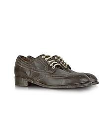 Dark Brown Tuffato Leather Wingtip Derby Shoes - Forzieri