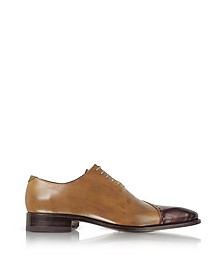 Brown Italian Handcrafted Leather Cap Toe Dress Shoes - Forzieri