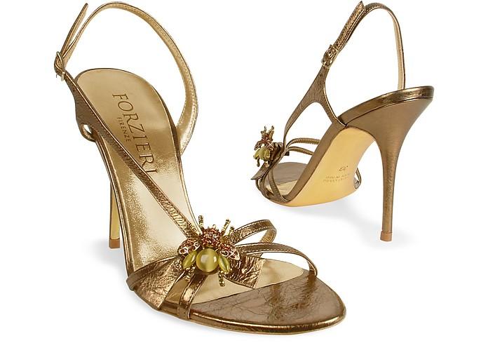 Bumble Bee Bronze Metallic Leather Sandal Shoes - Forzieri