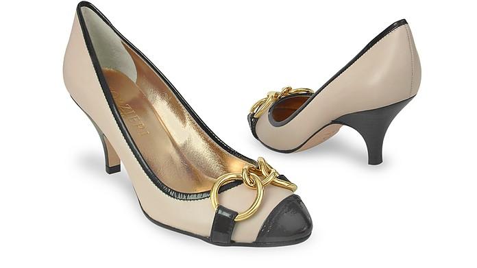Cream Cap-Toe Italian Leather Chain Pump Shoes - Forzieri