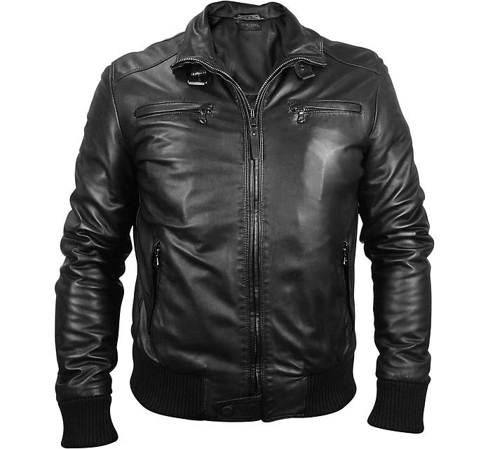 Men's Black Leather Motorcycle Jacket - Forzieri