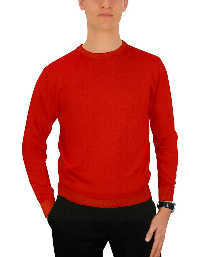 Men's Red Wool Crewneck Sweater - Forzieri