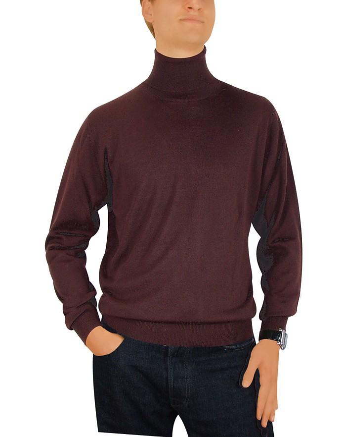 73e79a9362 Forzieri Maglia uomo in lana marrone scuro collo a lupetto