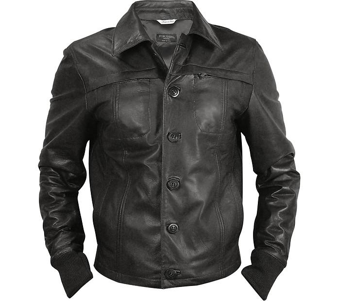 Black Men's Leather Jacket - Forzieri