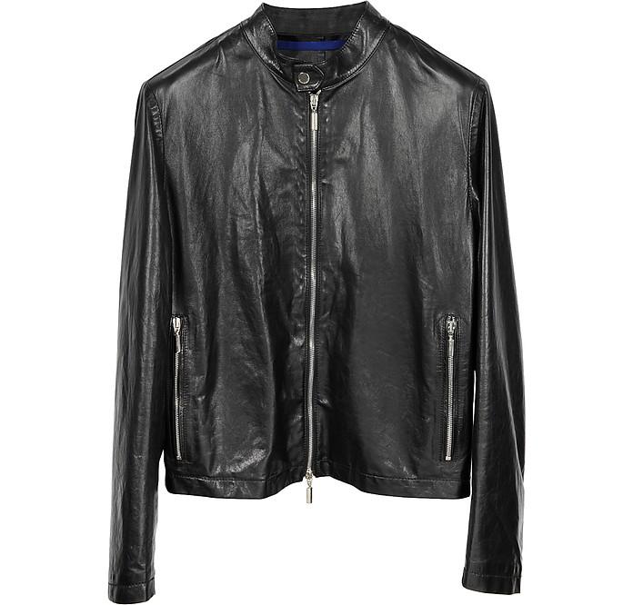 Black Leather Motorcycle Men's Jacket - Forzieri