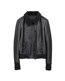 Women's Black Leather And Mix Media Jacket - Forzieri