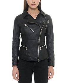 Black Leather Women's Biker Jacket - Forzieri / フォルツィエリ
