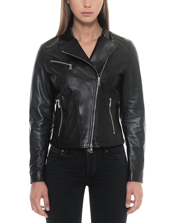 Asymmetrical Zip Black Leather Women's Jacket - Forzieri