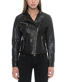 Asymmetrical Zip Black Leather Women's Jacket - Forzieri / フォルツィエリ