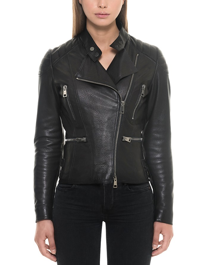 Black Padded Leather Women's Biker Jacket - Forzieri