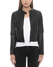 Black Leather Women's Jacket - Forzieri