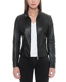 Black Leather Women's Jacket w/Zip Pockets - Forzieri