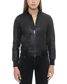 Black Leather Women's Bomber Jacket - Forzieri