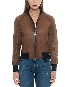 Brown Leather Women's Bomber Jacket - Forzieri