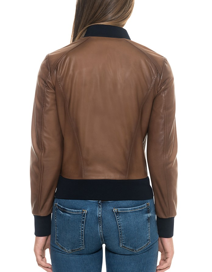 45a5d9caa Forzieri Brown Leather Women's Bomber Jacket
