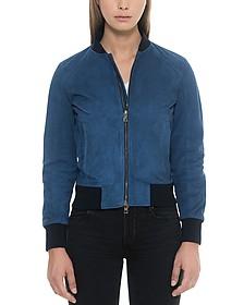 Blue Suede Women's Bomber Jacket - Forzieri