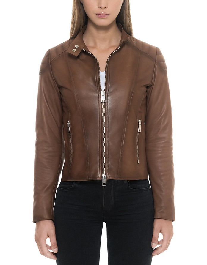 Brown Padded Leather Women's Zip Front Jacket - Forzieri