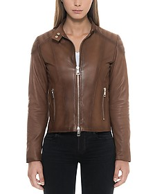 Brown Leather Women's Zip Front Jacket - Forzieri