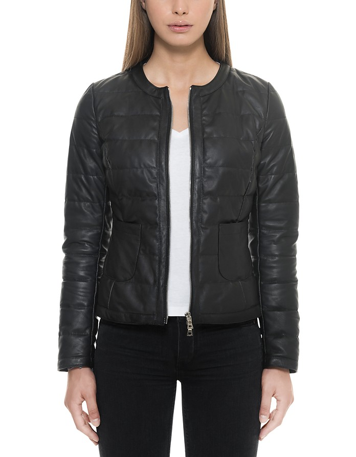Black Quilted Leather Women's Jacket - Forzieri