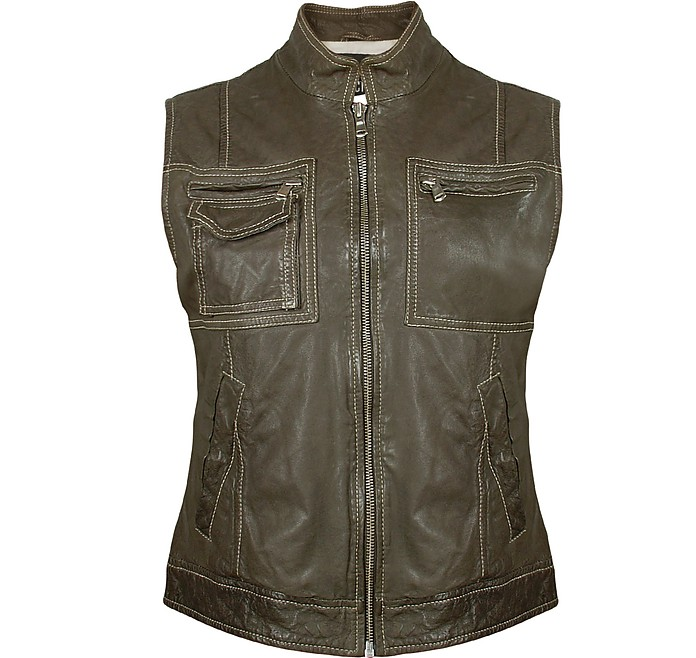 Women's Dark Green Washed Leather Vest - Forzieri