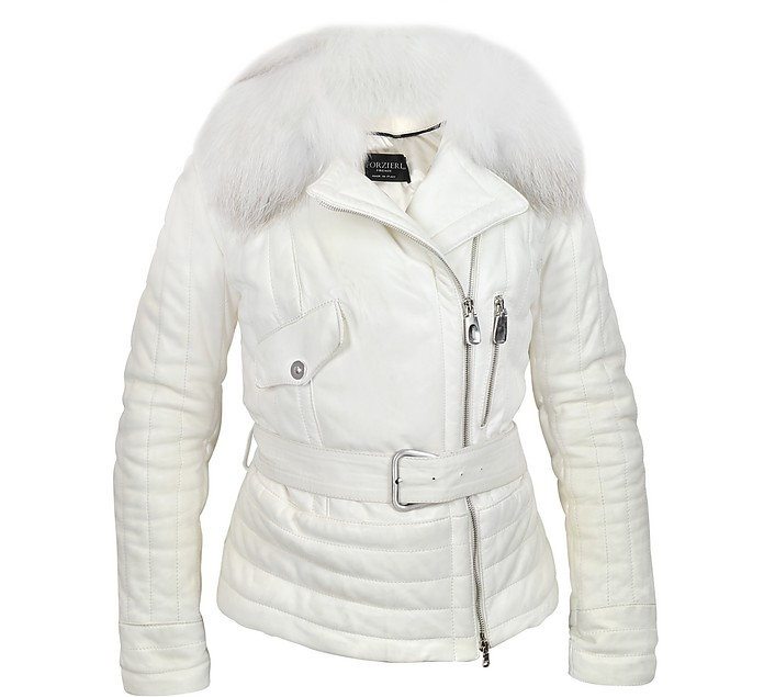 White Leather Asymmetric Puffer Belted Jacket - Forzieri