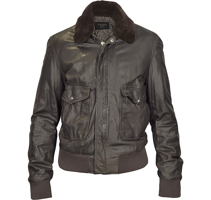 Dark Brown Leather Bomber Jacket w/ Removable Sheepskin Collar - Forzieri