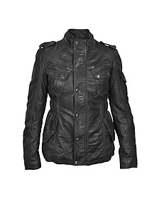 Black Leather Jacket w/ Quilted Lining - Forzieri