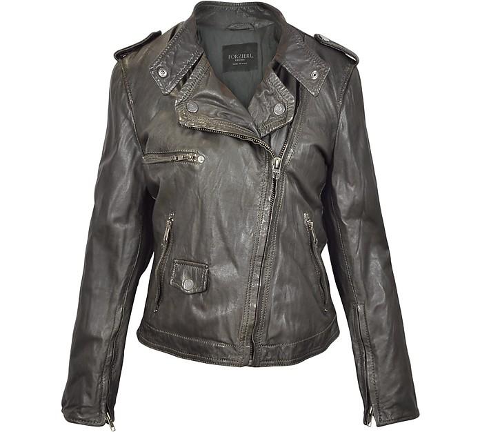 Dark Brown Assymetrical Zip Leather Motorcycle Jacket - Forzieri