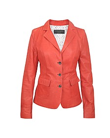 Three-Button Red Leather Jacket - Forzieri