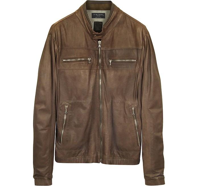 Genuine Leather Brown Motorcycle Jacket - Forzieri