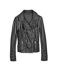 Black Quilted Leather  Motorcycle Jacket