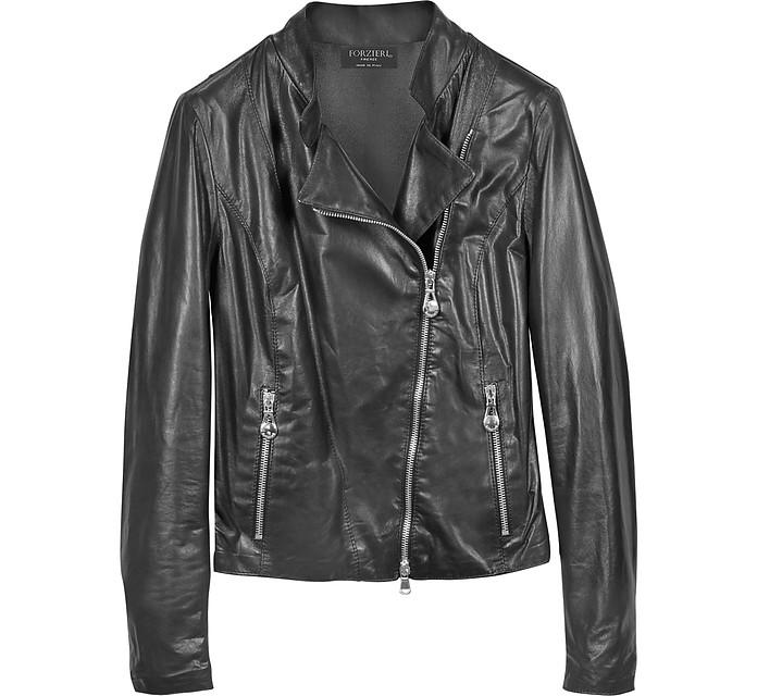 Diagonal Zip Black Leather Motorcycle Jacket - Forzieri