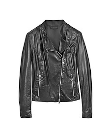 Diagonal Zip Black Leather Motorcycle Jacket