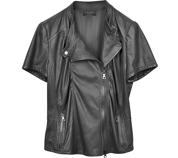 Short Sleeve Nappa Leather Jacket - Forzieri