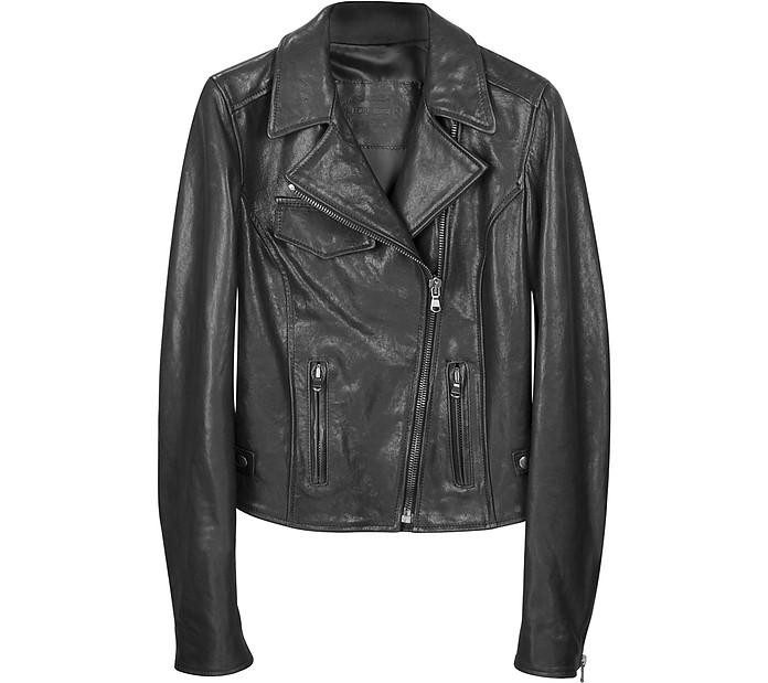 Black Leather Motocycle Jacket - Forzieri