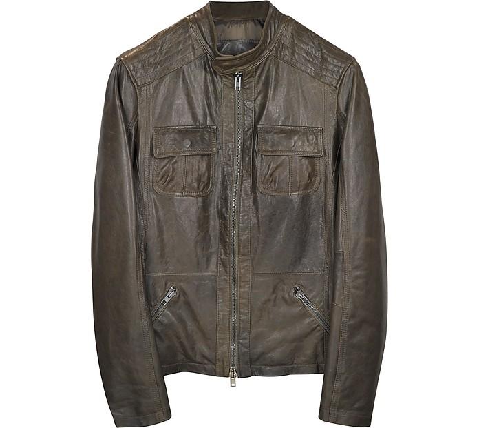 Dark Brown Leather Motorcycle Jacket - Forzieri