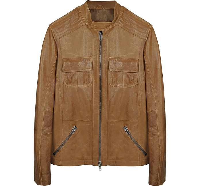 Light Brown Leather Motorcycle Jacket - Forzieri