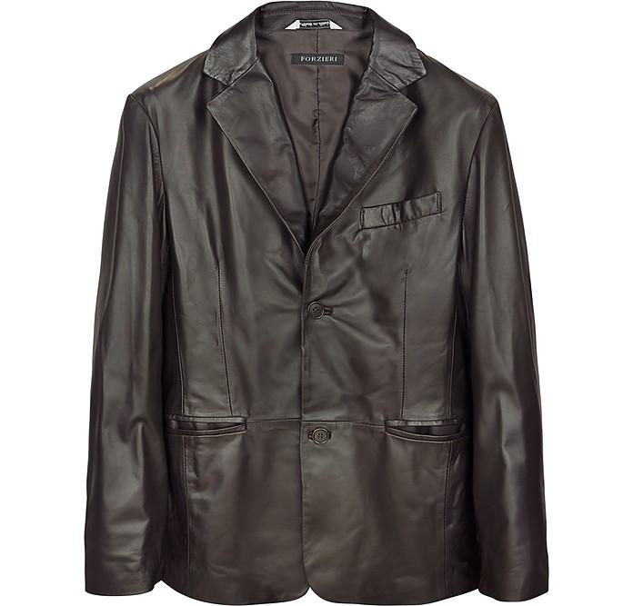 Dark Brown Italian Leather Blazer - Forzieri