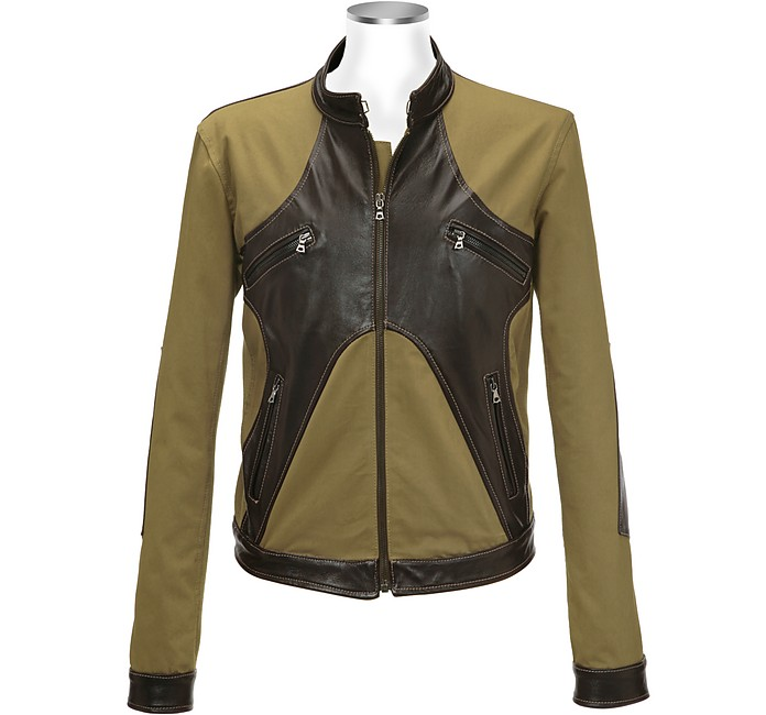 Brown & Olive Italian Leather and Cotton Motorcycle Jacket - Forzieri
