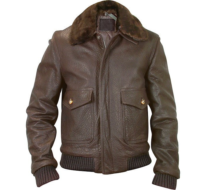 Men's Dark Brown Leather Bomber Jacket  - Forzieri
