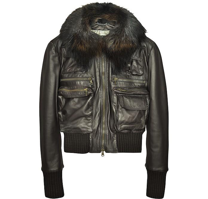Detachable Fur Collar Brown Leather Bomber Jacket - Forzieri