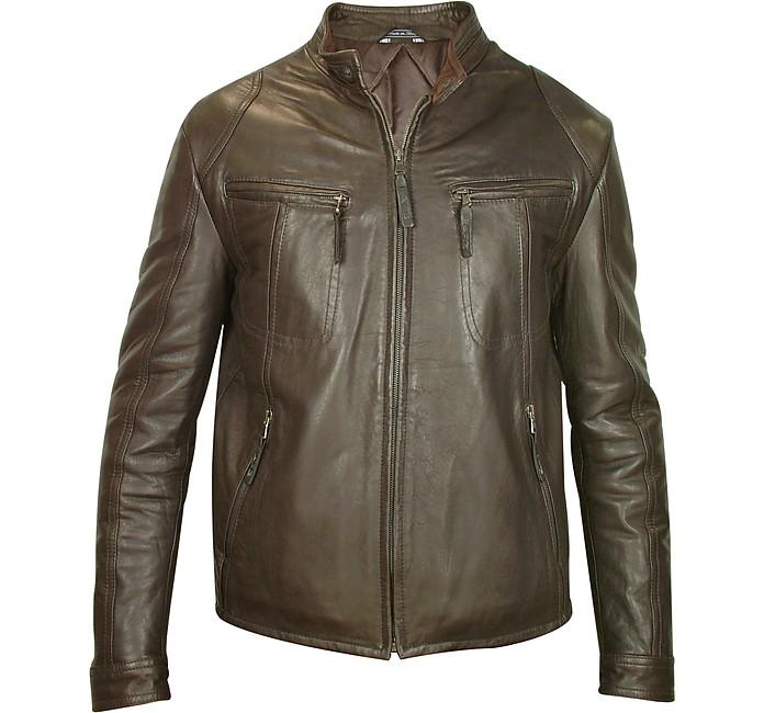 Men's Dark Brown Genuine Leather Motorcycle Jacket - Forzieri