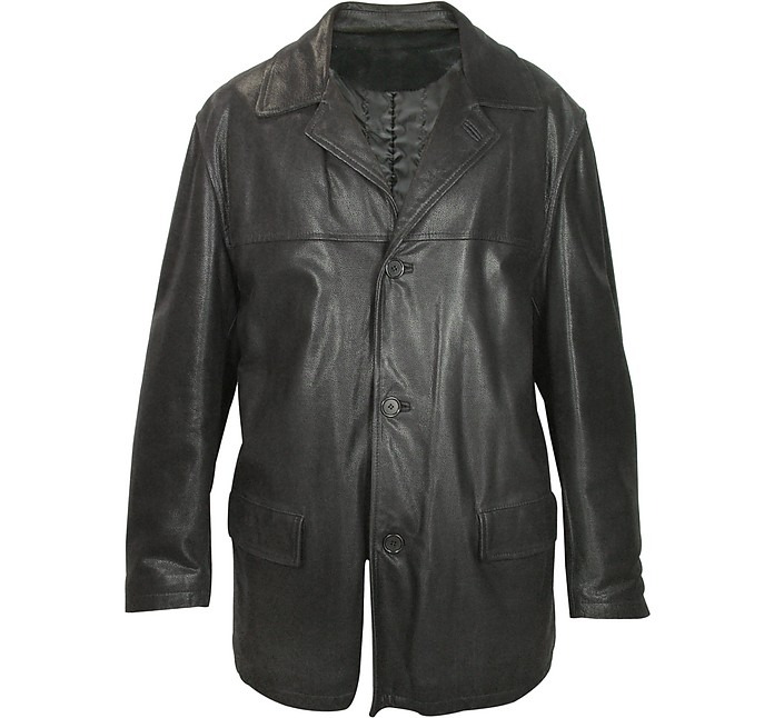 Men's Black Leather Jacket - Forzieri